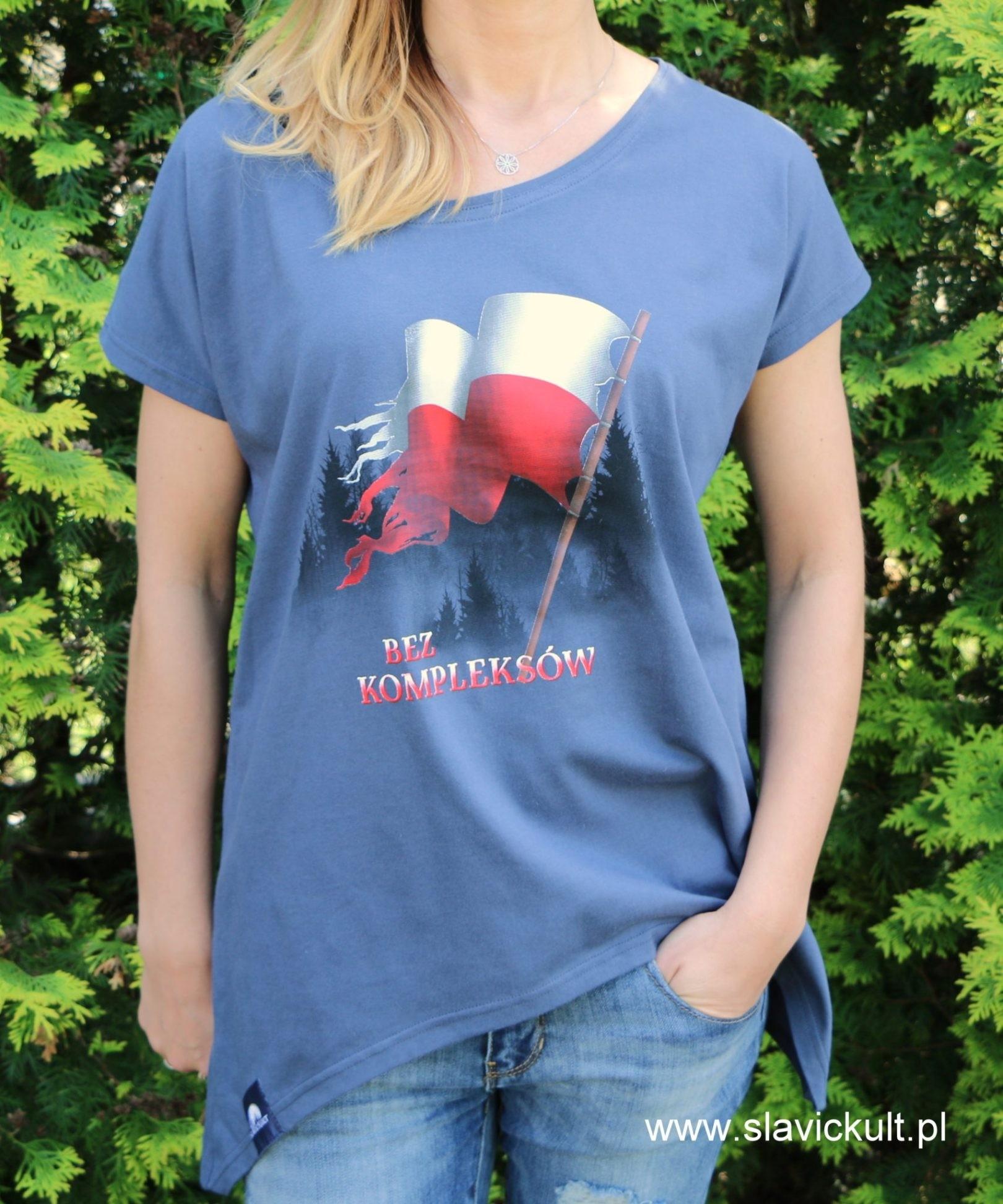 Koszulka Flaga (Indygo) - Damska z przedłużonym bokami