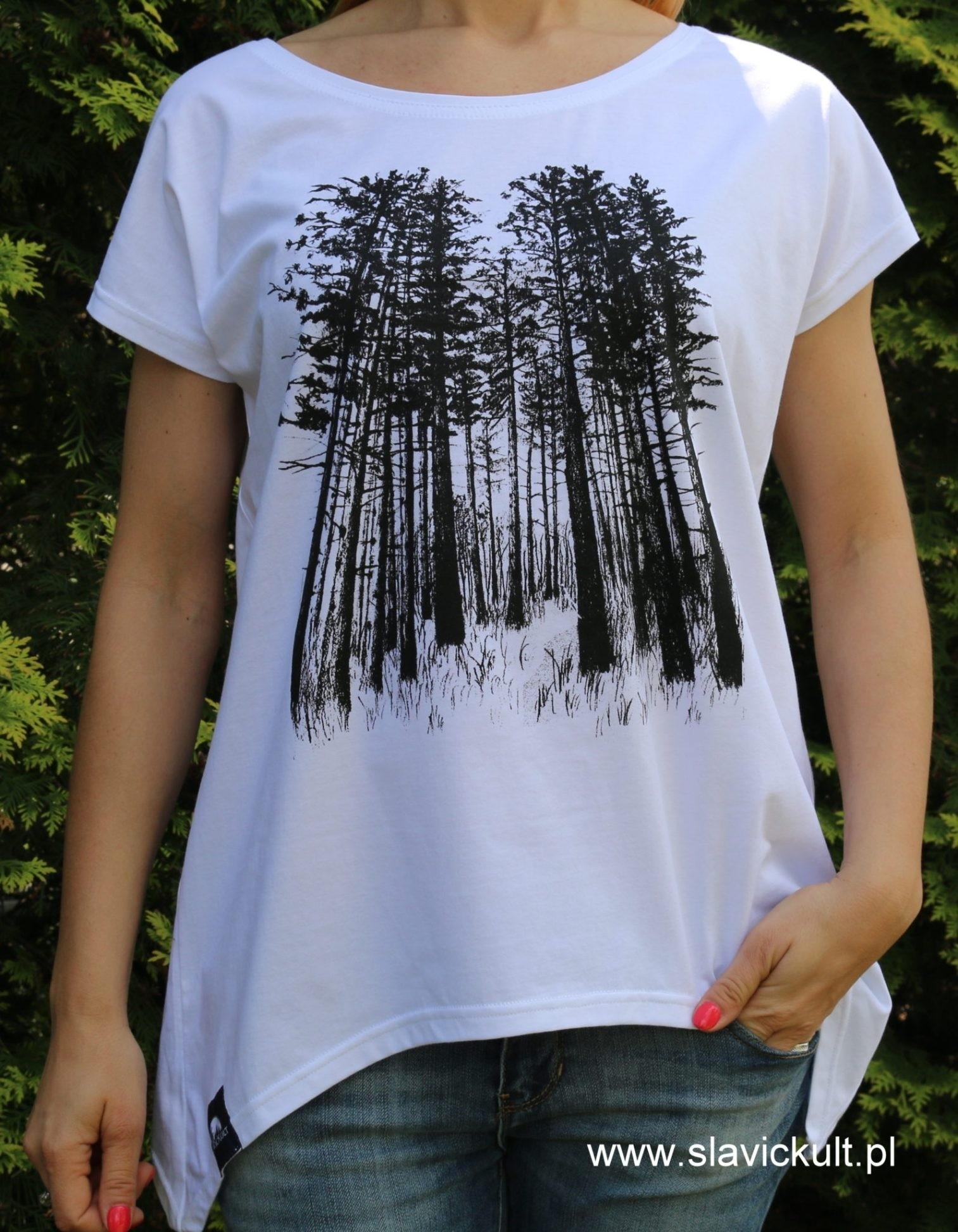 Koszulka Las (Biała) Damska z przedłużanymi bokami