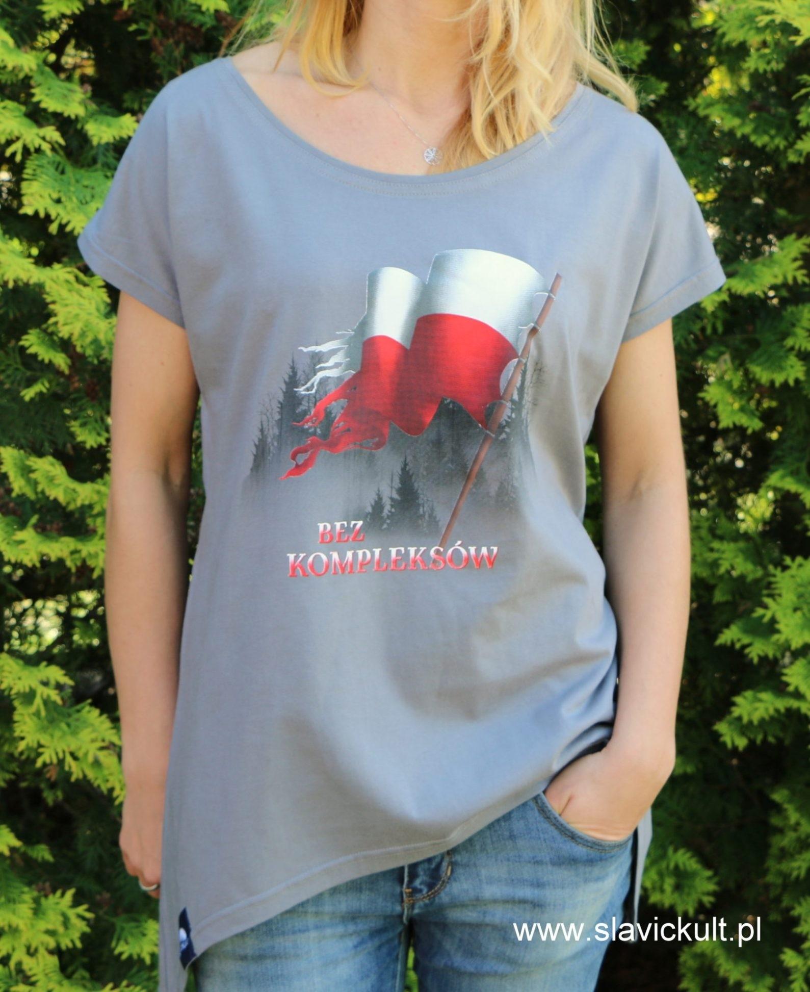 Koszulka Flaga (Szara) - Damska z przedłużonym bokami