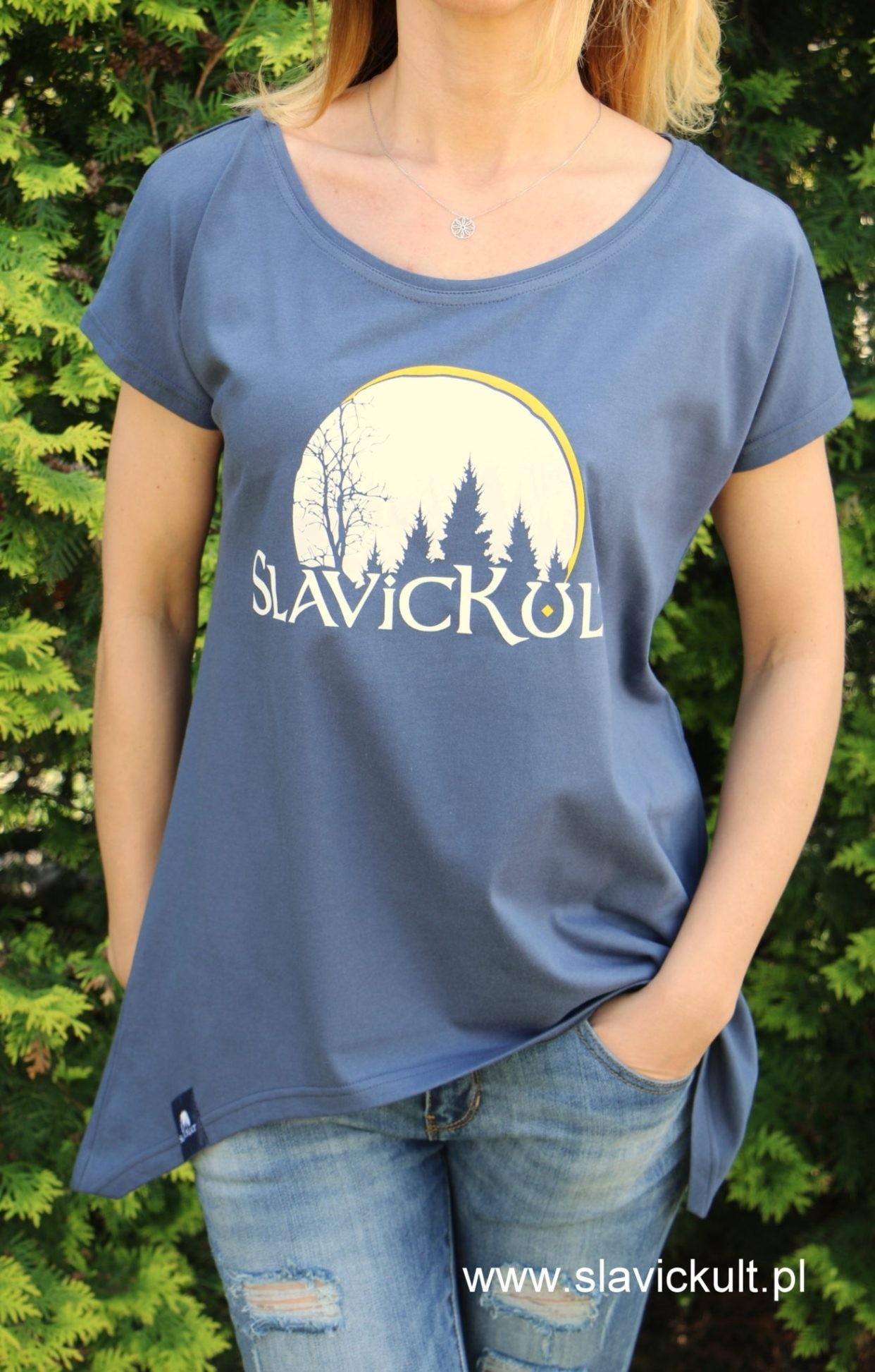 Koszulka Slavickult (Indygo) Damska z przedłużonym bokami