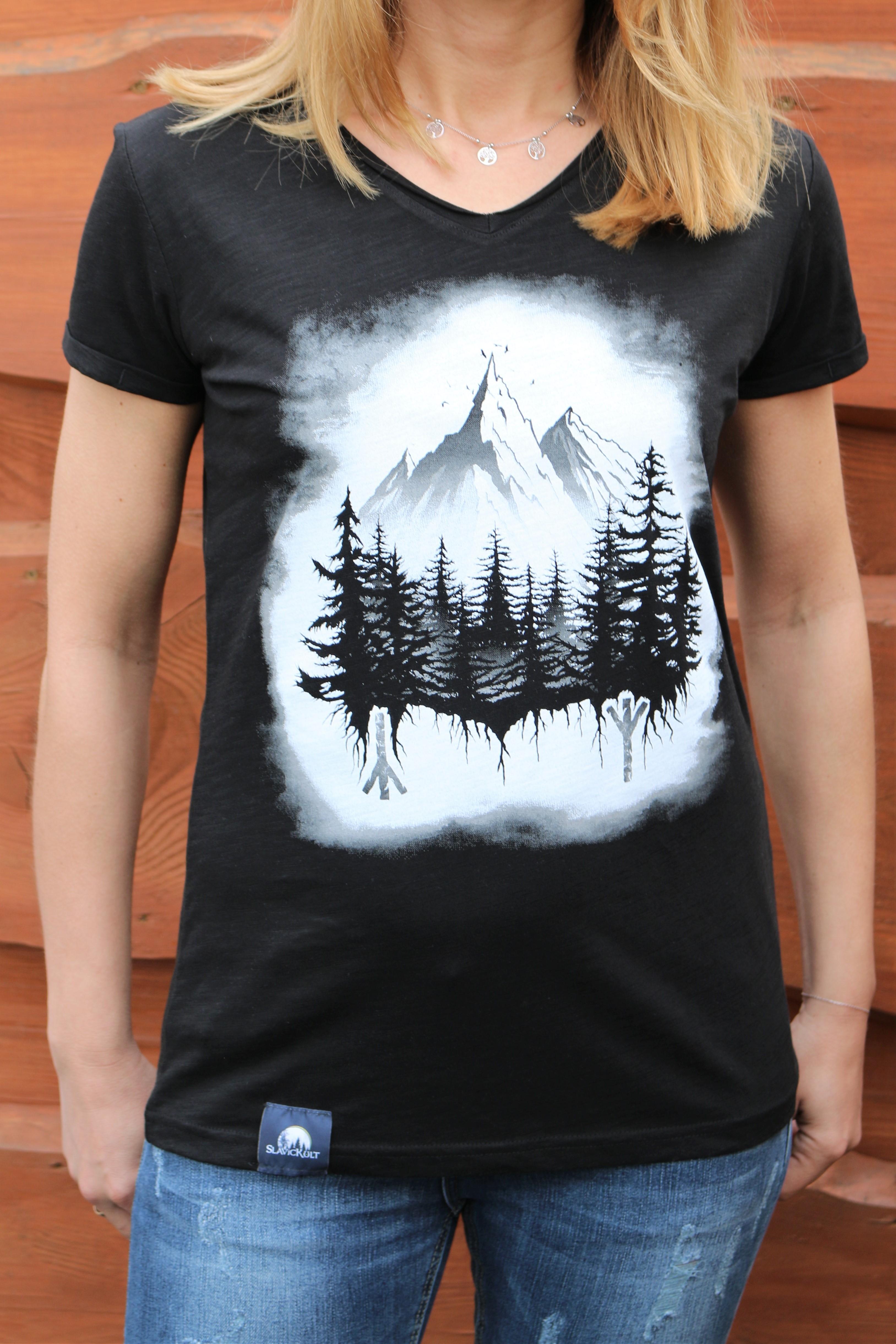 Koszulka Góry (Czarna) - Damska