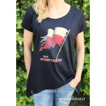 Koszulka Flaga (Czarna) - Damska z przedłużonym bokami