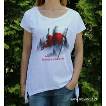 Koszulka Flaga (Biała) - Damska z przedłużonym bokami