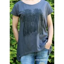 Koszulka Las (Grafit) Damska z przedłużanymi bokami