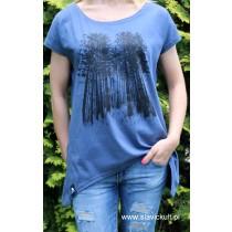 Koszulka Las (Indygo) Damska z przedłużanymi bokami