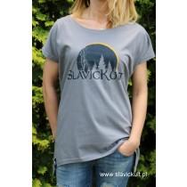 Koszulka Slavickult (Szara) Damska z przedłużonym bokami