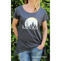 Koszulka Slavickult (Grafit) Damska z przedłużonym bokami