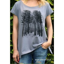 Koszulka Las (Szara) Damska z przedłużanymi bokami