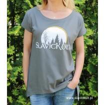 Koszulka Slavickult (Khaki) Damska z przedłużonym bokami