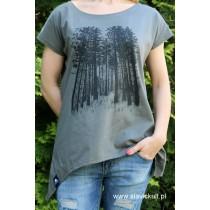 Koszulka Las (Khaki) Damska z przedłużanymi bokami