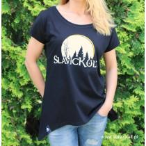 Koszulka Slavickult (Czarna) Damska z przedłużonym bokami